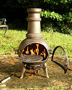 Bronze 85cm Chiminea Cast Iron With Swing Out Grill