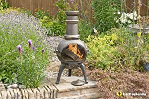 Bronze 85cm High Cast Iron Steel Mix Chiminea Chimenea Chimnea With Bbq Grill