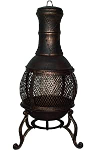 Bronze Mesh Cast Iron Chiminea Chimenea 90 Cm High