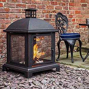 Caicos 40 Fire Pit Lantern Log Burner by Fire Mountain