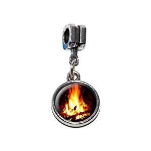 Campfire - Camp Camping Fire Pit Logs Flames Italian European Euro Style Bracelet Charm Bead - Fits Pandora Biagi Troll Chamilla Others by Graphics and More