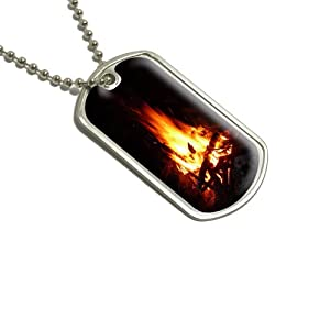 Campfire - Camp Camping Fire Pit Logs Flames Military Dog Tag Luggage Keychain by Graphics and More