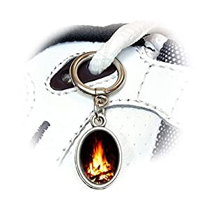 Campfire - Camp Camping Fire Pit Logs Flames Shoe Sneaker Shoelace Oval Charm Decoration by Graphics and More