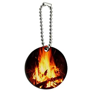 Campfire Camp Camping Fire Pit Logs Flames Wood Wooden Round Key Chain from Graphics and More