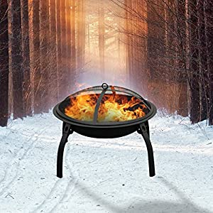 Camping Firepit Kit 21 Portable Folding Legs Fire Pit Outdoor Garden Patio Heater Stove Camping Bowl With A Kit Including Grill Grate Cover By Qisan by Qisan