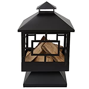 Caracas Black Metal Garden Chiminea by Simply Summer