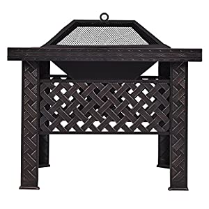 Casart Square Firepit Heater Fire Pit Brazier Stove Chiminea Bbq Patio Garden Outdoor by CASART