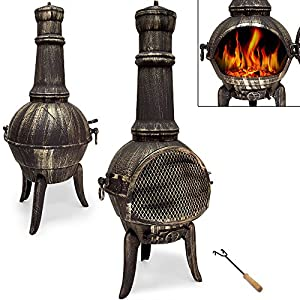 Cast Iron Chiminea Fire Pit Garden Patio Heater Bbq Grill For Wood Charcoal