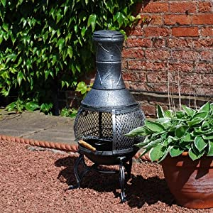 Cast Iron Patio Chiminea Bbq Heater With Mesh Guard Chimney Lid And Poker Sliding Door Cooking Grill Log Burner Tall Stove Outdoor Steel Blackbronze from FunkyBuys