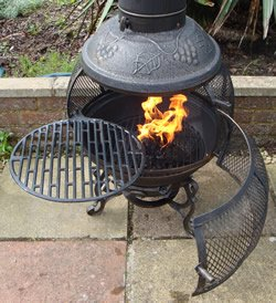 Castmaster Alfresco Cast Iron 360 Degree Firepit Chiminea Free Bbq Grill  Included By Castmaster