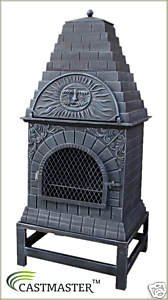 Castmaster Large Cast Iron Chiminea Outdoor Pizza Oven by Castmaster