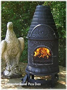 Castmaster Mexican Style Cast Iron Wood Fired Chiminea Chimenea Pizza Oven - Round from CASTMASTER
