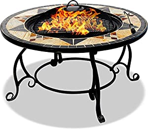 Centurion Supports Fireology Calagora Grand Garden Patio Heater Fire Pit Brazier Coffee Table Barbecue And Ice Bucket With Granite Tiles from Centurion Supports