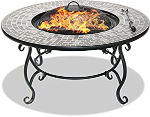Centurion Supports Fireology Ginessa Sumptuous Garden Patio Heater Fire Pit Brazier Coffee Table Barbecue And Ice Bucket With Mosaic Ceramic Tiles from Centurion Supports