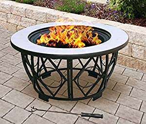 Centurion Supports Fireology Navaro Opulent 360 Garden Patio Heater Fire Pit Brazier Coffee Table Barbecue And Ice Bucket With Gloss White Ceramic Tiles by Centurion Supports