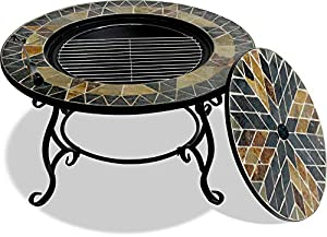 Centurion Supports Fireology Palanga Luxurious Garden Patio Fire Pit Brazier Coffee Table Barbecue And Ice Bucket With Slate Tiles from Centurion Supports