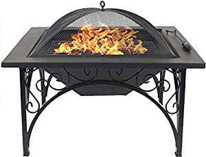 Centurion Supports Kojin Multi-functional Elegant Black Square Outdoor Garden Patio Luxury Heater Fire Pit Brazier from Centurion Supports