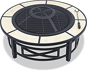 Centurion Supports Nusku Luxurious And Premium Multi-functional Black With Ceramic Tiles 360 Outdoor Garden Patio Heater Round Fire Pit Brazier by Centurion Supports