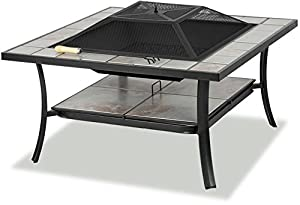 Centurion Supports Shango Premium Multi-functional Black With Ceramic Tiles Outdoor Garden Patio Square Heater Fire Pit Brazier And Outdoor Table by Centurion Supports