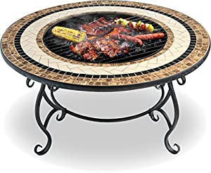 Centurion Supports Topanga High-end Luxurious Multi-functional Garden Patio Heater Fire Pit Brazier Coffee Table Barbecue And Ice Bucket With Ceramic Tiles by Centurion Supports