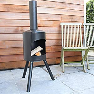 Chiminea Authentic Small - 115cm X 30cm - Black by 2L Home and Garden