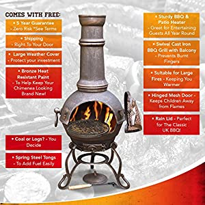 Chimnea - Large Cast Iron Chiminea With Swivel Barbecue Bbq Grill By Gardeco - Perfect To Heat Your Patio All Year Round by Gardeco