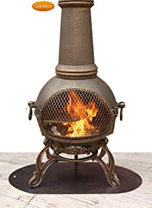 Clay And Metal Chimenea Accessories Steel Floor Protector 60cm X 70cm from UK-Gardens