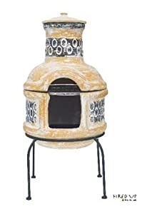 Clay Chiminea With Barbecue Grill by La Hacienda