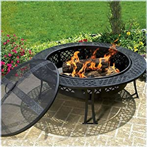 Cobraco Fb8008 Diamond Mesh Fire Pit With Screen And Cover by Woodstream