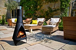Colorado Small 105cm High Black Steel Chiminea Chimenea