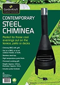 Contemporary Steel Bbq Chiminea With Grill by THE MORE SHOP