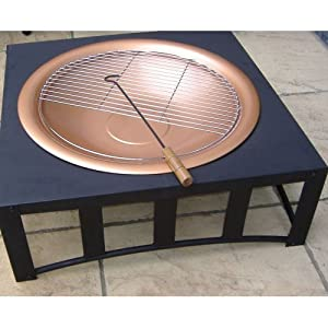 Copper Effect Bowl Firepit With Square Table