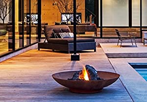 Corten Steel Bowl Burners -fire Pits 100cm Garden Heating Heater Feature Furniture Patio by Round Wood Trading