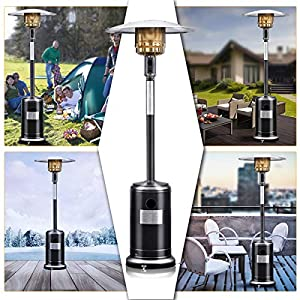 Costway 1300w Gas Patio Heater Stainless Steel Outdoor Garden Fire Pit Black by Costway