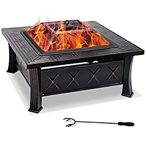 Costway 818145 Cm Garden Square Fire Pit Patio Fire-pit Brazier With Poker Stove Heater Bbq Steel from Costway