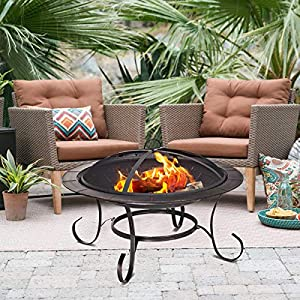 Costway Large Fire Pit Steel Garden Patio Heater Bbq Grill Camping Bowl Outdoor Log Burner With Poker And Safety Mesh Cover from COSTWAY