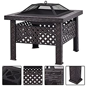 Costway Outdoor Fire Pit Firepit Patio Heater Brazier Garden Square Stove Chiminea Bbq by Costway