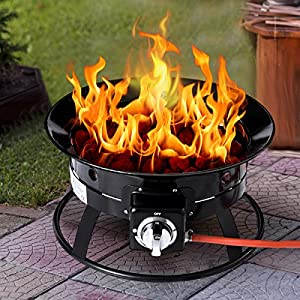 Costway Outdoor Gas Fire Pit Steel Patio Heater Portable Firepit Garden Fireplace Bowl from Costway
