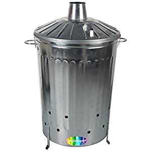 Crazygadget 125 Litre 125l Extra Large Galvanised Metal Incinerator Fire Burning Bin With Special Locking Lid Free Ash Poker from CrazyGadget®