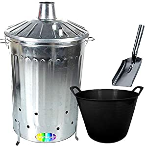 Crazygadget 125 Litre 125l Extra Large Galvanised Metal Incinerator Fire Burning Bin With Special Locking Lid Free Ash Shovel Free 42l Litre Plastic Flexi Tub Black  from CrazyGadget®