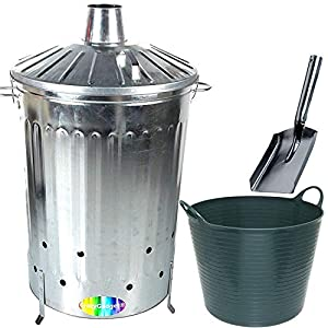 Crazygadget 125 Litre 125l Extra Large Galvanised Metal Incinerator Fire Burning Bin With Special Locking Lid Free Ash Shovel Free 42l Litre Plastic Flexi Tub Dark Green  from CrazyGadget®