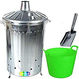 Crazygadget 125 Litre 125l Extra Large Galvanised Metal Incinerator Fire Burning Bin With Special Locking Lid Free Ash Shovel Free 42l Litre Plastic Flexi Tub Light Green  from CrazyGadget®