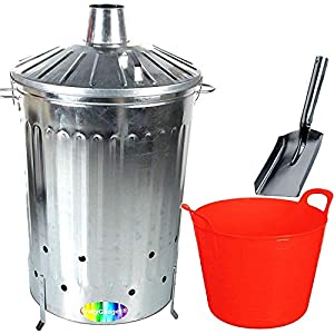 Crazygadget 125 Litre 125l Extra Large Galvanised Metal Incinerator Fire Burning Bin With Special Locking Lid Free Ash Shovel Free 42l Litre Plastic Flexi Tub Red  from CrazyGadget®