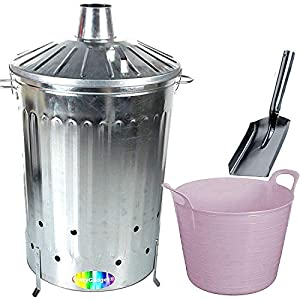 Crazygadget 125 Litre 125l Extra Large Galvanised Metal Incinerator Fire Burning Bin With Special Locking Lid Free Ash Shovel Free 42l Litre Plastic Flexi Tub Silver  from CrazyGadget®