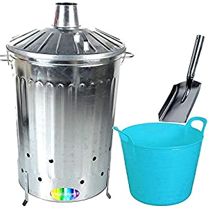 Crazygadget 125 Litre 125l Extra Large Galvanised Metal Incinerator Fire Burning Bin With Special Locking Lid Free Ash Shovel Free 42l Litre Plastic Flexi Tub Sky Blue  from CrazyGadget®