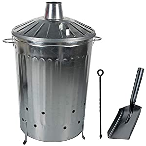 Crazygadget 125 Litre 125l Extra Large Galvanised Metal Incinerator Fire Burning Bin With Special Locking Lid Free Ash Shovel Poker from CrazyGadget®