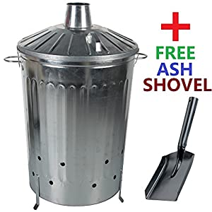 Crazygadget 125 Litre 125l Extra Large Galvanised Metal Incinerator Fire Burning Bin With Special Locking Lid Free Ash Shovel from CrazyGadget®