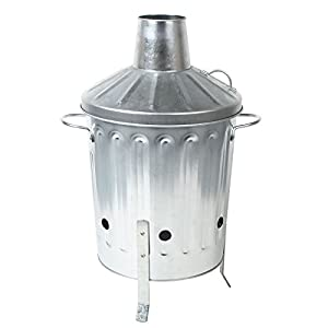 Crazygadget 15l 15 Litre Galvanised Metal Incinerator Mini Garden Fire Bin Bbq For Burning Wood Leaves Paper Cooking by CrazyGadget®