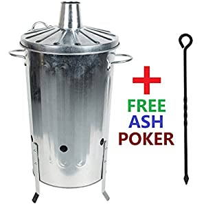 Crazygadget 18 Litre 18l Small Garden Galvanised Metal Incinerator Fire Burning Bin For Wood Paper Leaves Free Ash Poker from CrazyGadget®