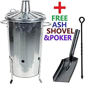 Crazygadget 18 Litre 18l Small Garden Galvanised Metal Incinerator Fire Burning Bin For Wood Paper Leaves Free Ash Shovel Poker from CrazyGadget®
